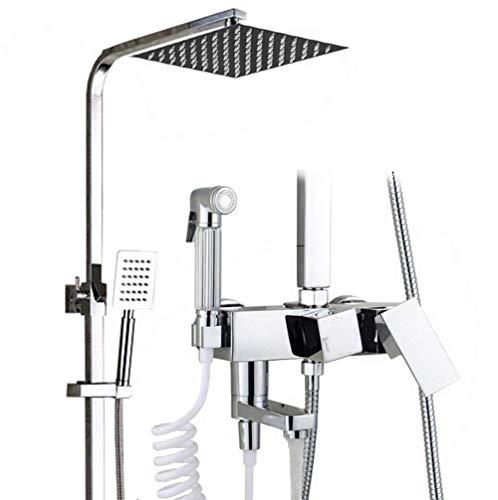 Duschesystem mit Thermostat, Duscharmatur Thermostat mit Regendusche und Handbrause Edelstahl Dusche mit höhenverstellbarem Regenbrausearm, Chrom, Silber