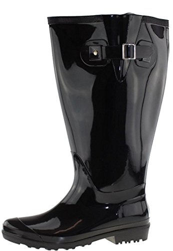 JJ Footwear Wide Wellies Bottes de Pluie Large Mollet   Largeur de Tige L   Noir Taille 38   Coupe Large Wellies pour Femmes   Large Mollet Wellies pour Femmes   Large Mollet Wellies pour Dames