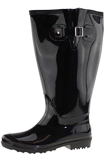 JJ Footwear Wide Wellies Gummistiefel Weitschaft | Schaftbreite XL | Schwarz Größe 42 | Gummistiefel Weitschaft Damen | Weitschaft Gummistiefel | Regenstiefel Damen