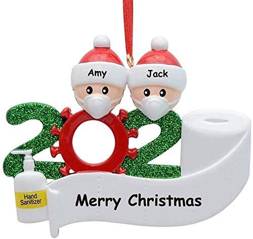 YiMoo Weihnachtsbaumschmuck, 2020 Quarantäne Survivor Familie, personalisiertes Weihnachtsdekorationsset, kreatives Geschenk (A: 2 Mitglieder)