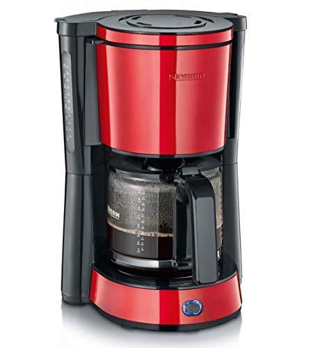 SEVERIN KA 4817 Type Kaffeemaschine (Für gemahlenen Filterkaffee, 10 Tassen, Inkl. Glaskanne) rot lackierter edelstahl