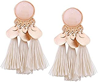 52569d537 MODA - Beautiful And Stylish Faux Gem Leaf Disc Tassel Earrings for Girls &  Women