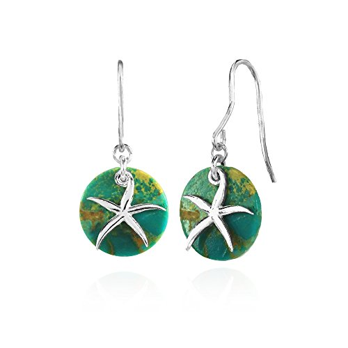 Sterling Silver Simulated Turquoise Round Polished Starfish Dangle Earrings