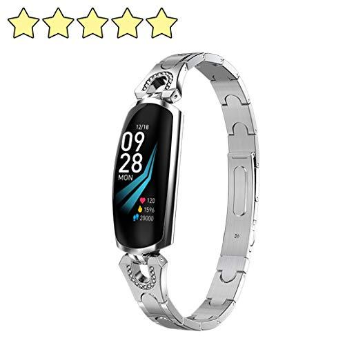 2020 AK16 Women smart Watches Heart Rate Blood Pressure Smart Bracelet Fitness Tracker Smart Watch for IOS Android Bluetooth Watches Watch Fitness Tracker Sportuhr Frauen intelligente Uhren (Silber)