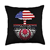 InGENIUS Okinawan American Ancestry Gifts Okinawa Roots American Grown US Flag Japan Japanese Throw Pillow, 18x18, Multicolor