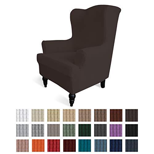 易行拉伸翼展椅子沙发套装1件套沙发盖家具保护器沙发柔软带弹力底部氨纶提花织物小型支票(翼椅,巧克力)