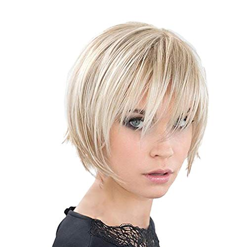 Sharplace Mode Femme Perruque Courte Raide Lissé Cheveux Humains Réel Pleine Beige Légères pour Fête Quotidien