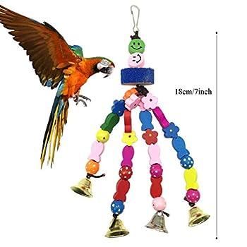 Jouets pour Oiseaux, PietyPet Coloré Oiseaux Jouets avec Cloches, Pont Échelles, Balançoire Jouet Oiseau Perché, Escalade Jouet, Décoration Animal Cages pour Oiseaux de petite taille, 6 Pièces