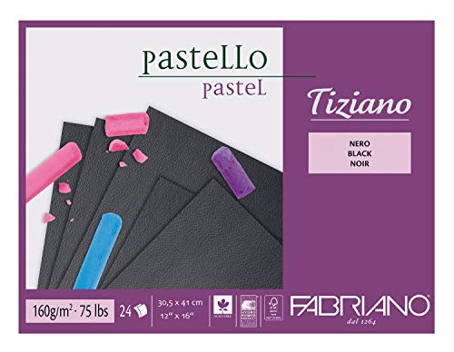Honsell 46730541 - Fabriano Tiziano Pastellblock Schwarz, 30,5 x 41,0 cm, 24 Blatt, 160 g/m², hoch hadernhaltig, säurefrei und alterungsbeständig, griffige, raue Oberfläche