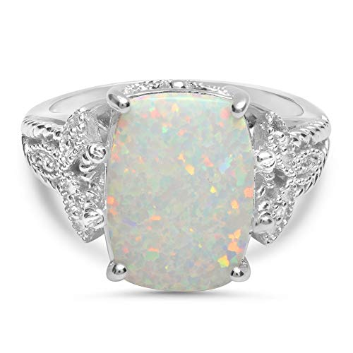 Sterling Silver 13x10mm Simulated Opal and Diamond Accent Statement Ring, Size 7