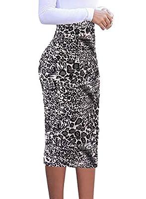 VFSHOW Womens Elegant Ruched Ruffle High Waist Pencil Midi Mid-Calf Skirt