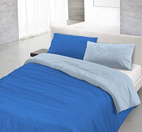 Italian Bed Linen Natural Color Parure Copri Piumino, 100% Cotone, royal/azzurro, Singolo, 2 Unità