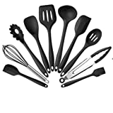 Juego de utensilios de cocina de silicona antiadherente, 10 unidades, color verde negro