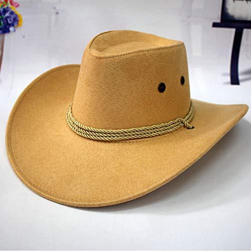 ZFLL Zonnehoed voor heren, cowboy-hoed, westernhoed voor paardrijden, modieus accessoire, met brede rand