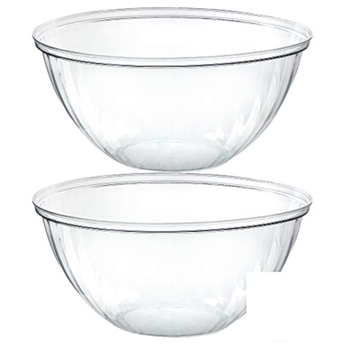 Plasticpro Disposable 48 Ounce Round Crystal Clear Plastic Serving Bowls, Party Snack or Salad Bowl, Chip Bowls, Snack Bowls, Candy Dish, Salad Container Pack of 2