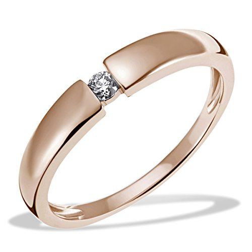 Goldmaid Damen-Ring Verlobung Solitär 585 Rotgold Diamant (0.10 ct) Brillantschliff weiß Gr. 58 (18.5) - So R6089RG58 Verlobungsring Diamantring