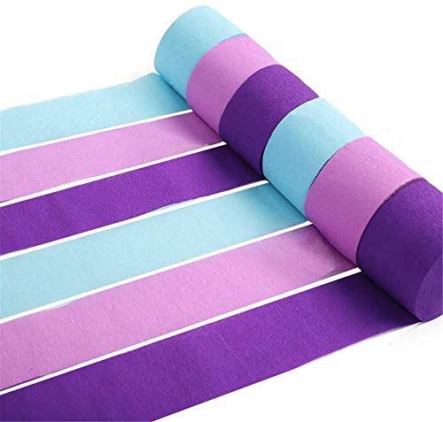 RUBFAC 12 Rolls 82ft Crepe Paper Streamers Mermaid Colors, Lavender, Purple and Baby Blue for Mermaid Party Decorations, Birthday Supplies and Baby Bridal Shower
