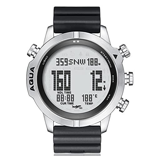 Gazaar Reloj deportivo digital inteligente de buceo, multifuncional con rastreador de fitness, reloj táctico con altímetro, barómetro, brújula y termómetro, 100 m impermeable doble zona horaria