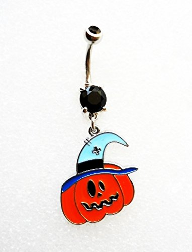 CRAZY HALLOWEEN PUMPKIN W/ WITCH HAT Navel Belly Button Ring Body Jewelry Piercing