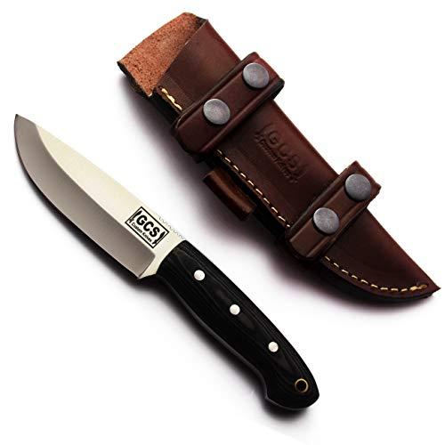 GCS Custom Handmade D2 Tool Steel G10 Handle Hunting Tactical Survival Fixed Blade Knife with & Horizontal Leather Sheath GCS124