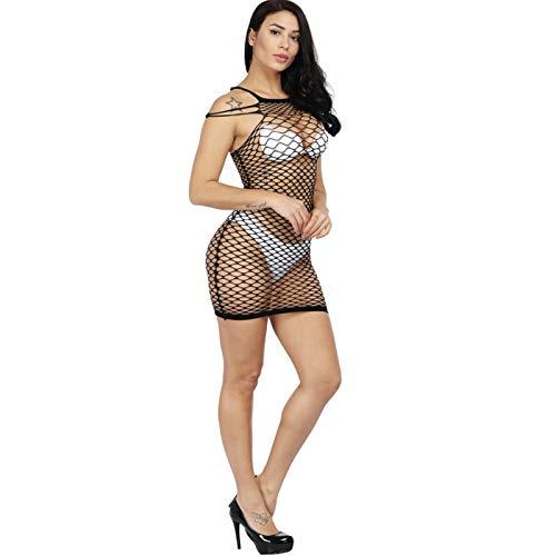 Shanol Damas Sexy lencera Hueco Malla Vestido Transparente Seductor Sexy Pijamas (Color : A)