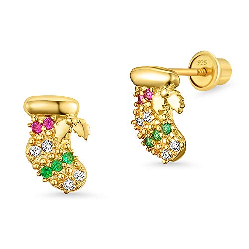 14k Gold Plated Brass Christmas Cubic Zirconia Screwback Girls Earrings with Sterling Silver Post