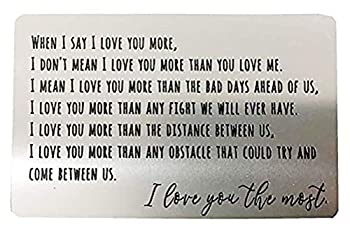 Engraved Metal Wallet Card for Men/Women/Christmas/Valentines Wedding Day Stainless Steel Love Note