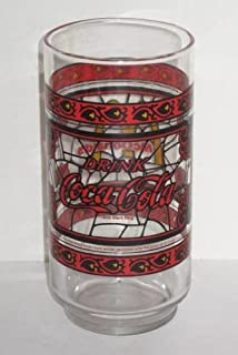 Vintage Canadian McDonalds Red Coca Cola Coke Glass ~ Stained Glass Design