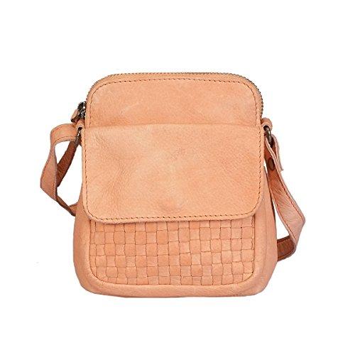 Vilenca Holland Designer Taschen Umhängetasche kleine Ledertasche Damen aus echtem Leder - 26cm x 19cm x 9cm (b xh x d) / Farbe- Orange/Model No:40684