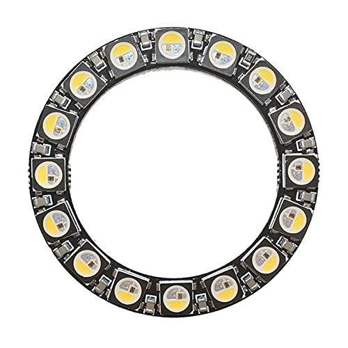 QiKun-Home 16-bit SK6812 RGBW Ronda LED de anillo a todo color con los controladores integrados Luz Desarrollo Tablero Lámpara Panel Módulo negro