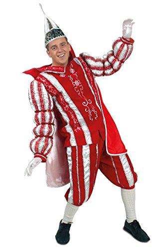 Prinzenkostüm Ornat rot weiß silber in den Größen 50 bis 60 ohne Prinzen Mütze (52)
