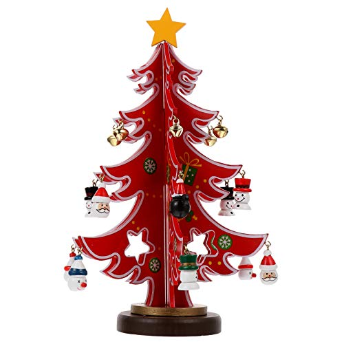 VOSAREA Desktop Wooden Christmas Tree with Pendants Ornaments DIY Mini Xmas Tree Scene Layout Prop for Home Office Festival Decor (Red)