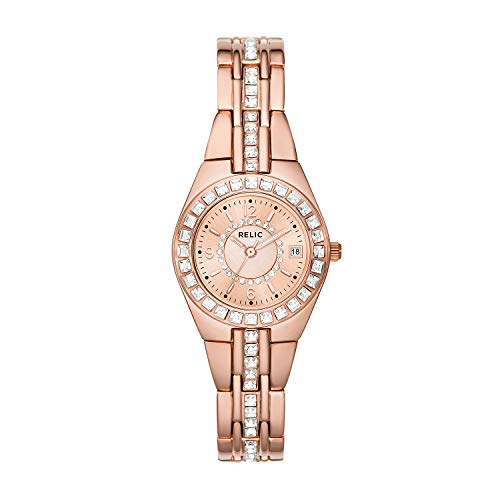 Relic by Fossil Women's Queen's Court Quartz Stainless Steel Dress Watch, Color: Rose Gold-Tone (Model: ZR12163)