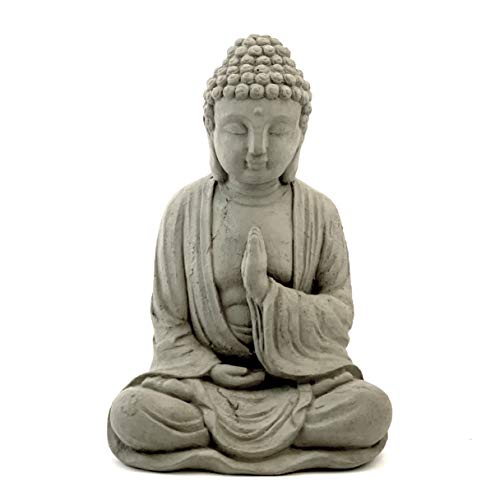 Blessing Buddha Statue: Solid Durable Stone. Distressed Weathered Worn Detail. Sealed for Outdoor...