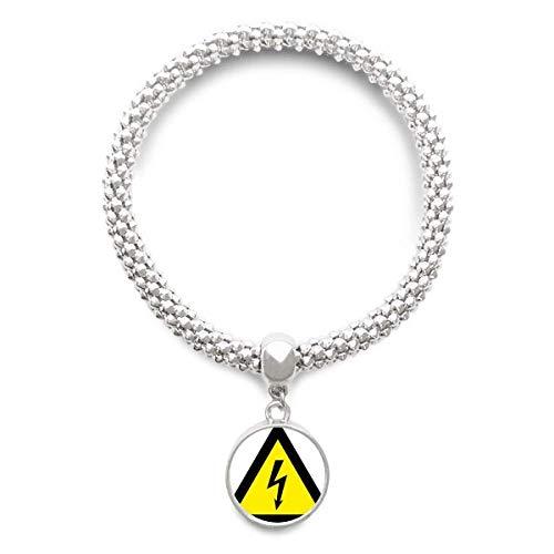 DIYthinker Advertencia Cadena de la joyería Símbolo Negro Amarillo Descarga eléctrica Triángulo...