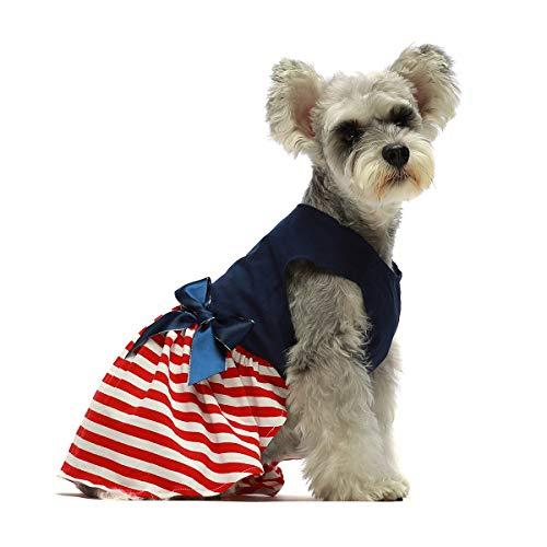 Fitwarm 100% Cotton Striped Dog Dress Doggie Clothes Puppy Vest Dress Pet Cat Apparel Blue Red Medium