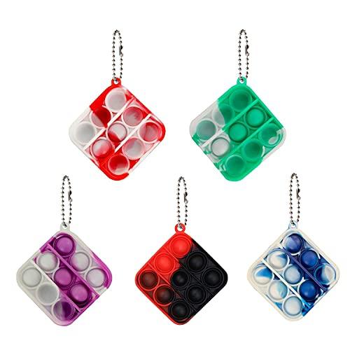 Leencum 5Pcs Mini Simple Fidget Toy Stress Relief Hand Toys Keychain Toy Bubble Wrap Pop Anxiety...