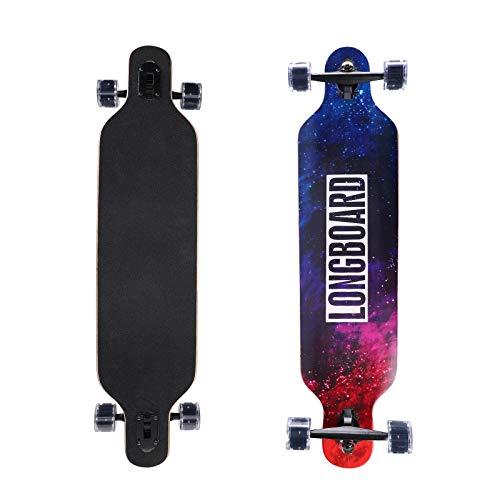 Longboard Komplettboard mit High-Speed ABEC-11 Kugellagern inklusive Flash Wheel Drop Through Freeride Skate Cruiser Boards (Leuchtendes Blau)