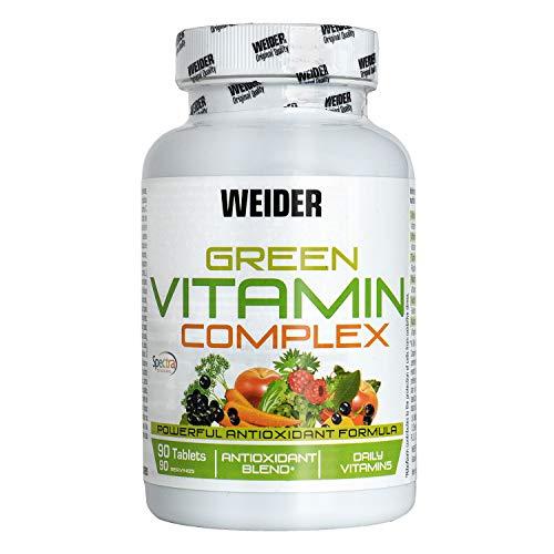 Weider- Green Vitamin Complex- Complejo multivitaminco vegano, ideal para el sistema inmune. 90 Unidades.