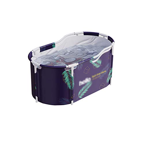 QHYY Plegable Oval Bañera de baño para Adultos Bañera portátil Plegable Cubo de baño Doble de plástico Grueso Antideslizante
