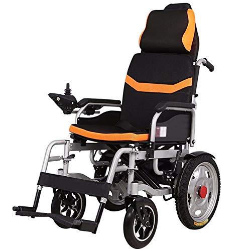 APOAD Elektrischer Rollstuhl Mit Hoher Rückenlehne Kopfstütze,elektrorollstuhl,faltbar Tragbare,toilettenstuhl Fahrbar Auf Rollen,sitzbreite 45cm,für ältere Und Behinderte Menschen,lithiumbatterie