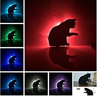 AAMOUSE Novetly LED Cute Licking Hair Cat 7 Color Change Shadow Projection Kids Bedroom Sleeping Decor Corridor Aisle Wall Lamps Gifts