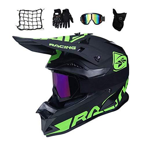 MRDEAR Motorrad Crosshelm mit Brille (4 Stück/Schwarz und Grün/Großer Visieröffnung) Motocross Helm Fullface MTB Helm Cross Helm Motorradhelm für Fahrrad Downhill Enduro Bike BMX Off Road ATV,M