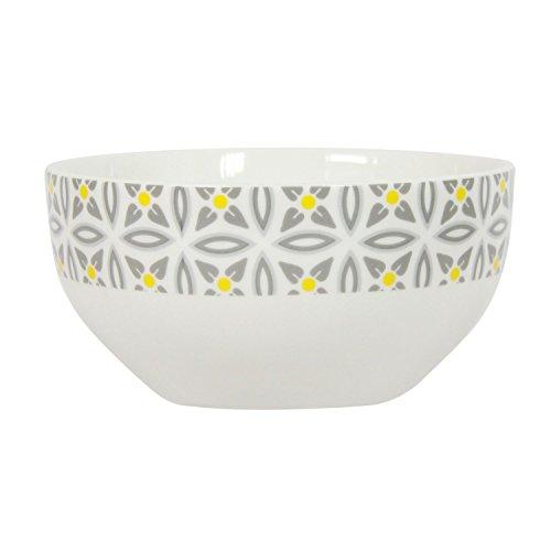 Novastyl Bol en Porcelaine Aristo - Blanc décoré