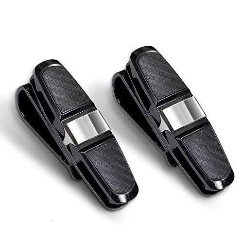 homEdge Sun Visor Clip, 2 Packs Sonnenbrillenhalter für Auto Sonnenblende, Auto Sonnenbrillen Clip, Brillenhalter mit Card Clip-Silber