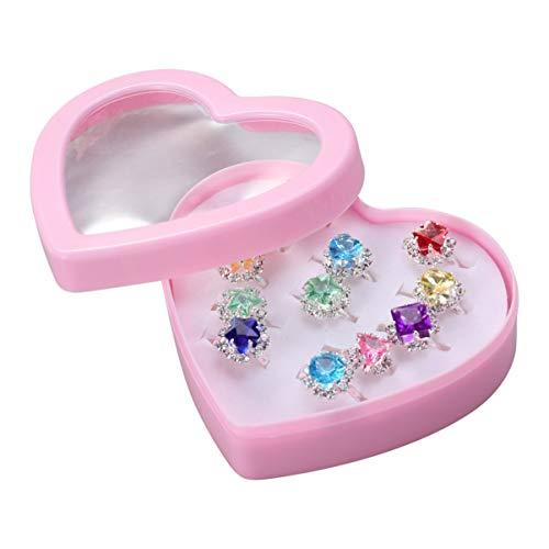 VALICLUD 12Pcs Niño Anillos Colorido Anillo de Diamantes Set Regalo con Caja en Forma de Corazón para Niñas Niño