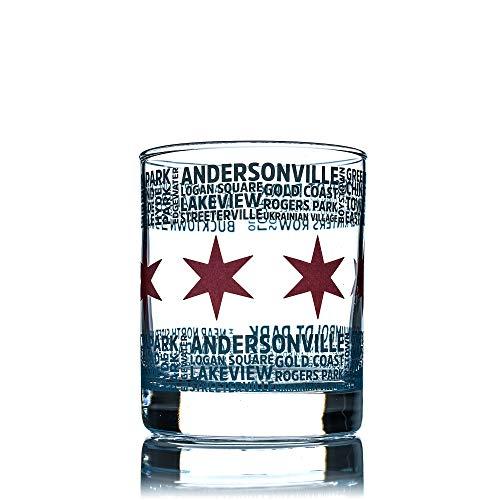 Greenline Goods Whiskey-Gläser – 284 ml Tumbler für Chicago-Liebhaber, Chicago-Flagge & Nachbarschaften | Old Fashioned Rocks Glas (Einzelglas)