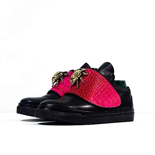 Sneek Low Vi - EU 40 - US 7 - UK 6-25,5 cm - Cuero Italiano Hecho A Mano Hombre Piel Color Negro Zapatos Casuales Sneakers - Cuero Charol - Encaje
