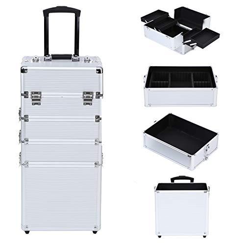 Ridgeyard 4 in 1 Universal Large Aluminium Frame Beauty Case Makeup Cosmetic Rolling Case Trolley Trunk Vanity Professional Portable Travel Organizer Box (Silver)