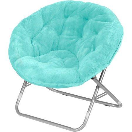 Folding Chair Foldable Steel Frame Faux-Fur Saucer in Aqua Wind